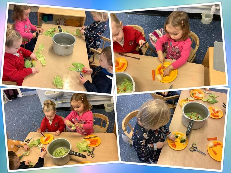 Working together to make some soup