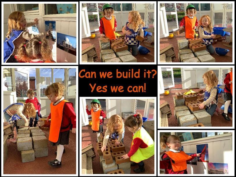 Children enjoying the free construction play