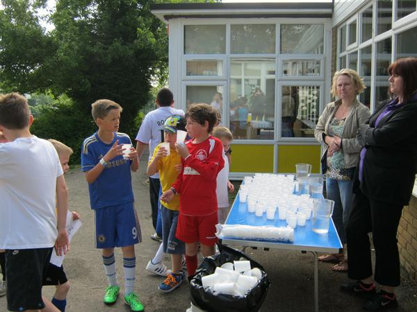 The drinks station was a welcome relief for some.
