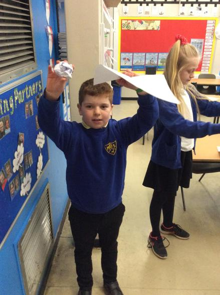 In Science we tested air resistance by dropping different sized paper and spinners.