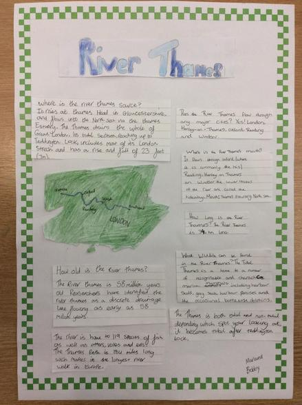 This week in Geography we have been learning all about the journey of the River Thames
