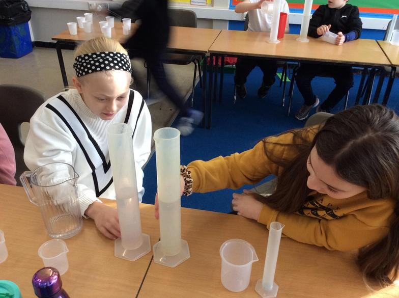 In maths, we looked at scales on measuring equipment and measured different capacities.