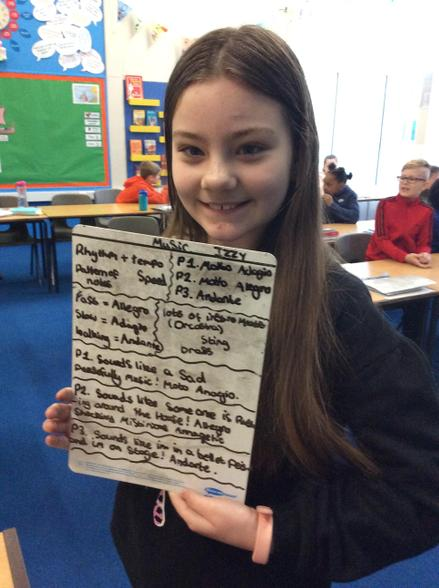 Izzy was very proud of her notes in music
