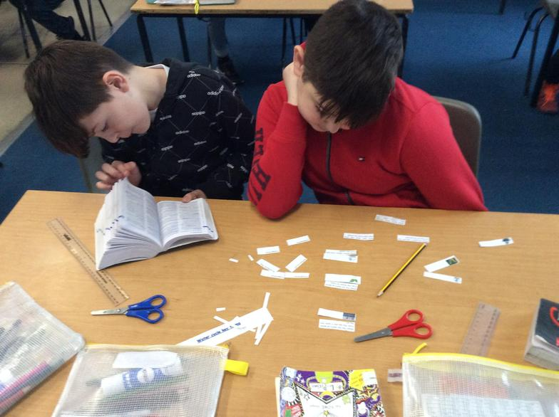 We used dictionaries to find out what some scientific words meant...