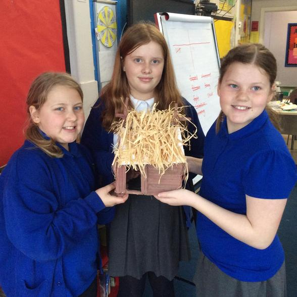 Here are our completed Viking houses!