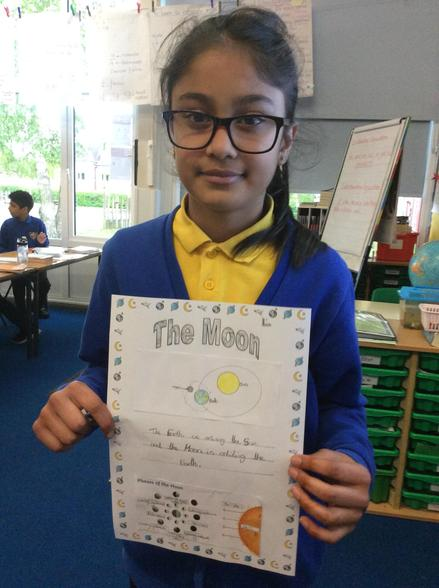 We have been learning about how the moon orbits the earth