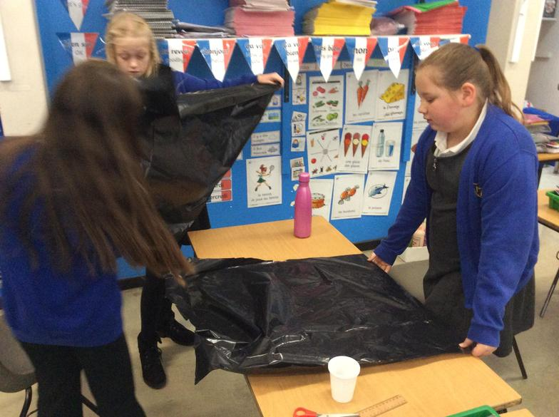 In Science this week we had great fun testing the effect of air resistance on a parachute.