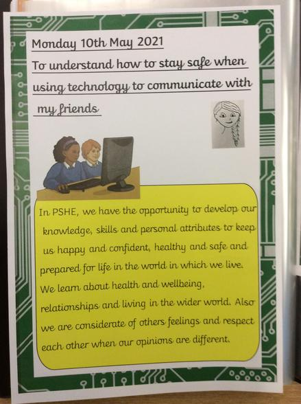 In PSHE this week we learnt how to stay safe when using technology