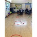 Throwing into a target hoop interhouse challenge