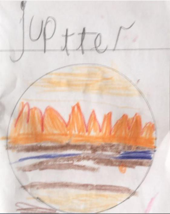 Archie has drawn a brilliant picture of Jupiter