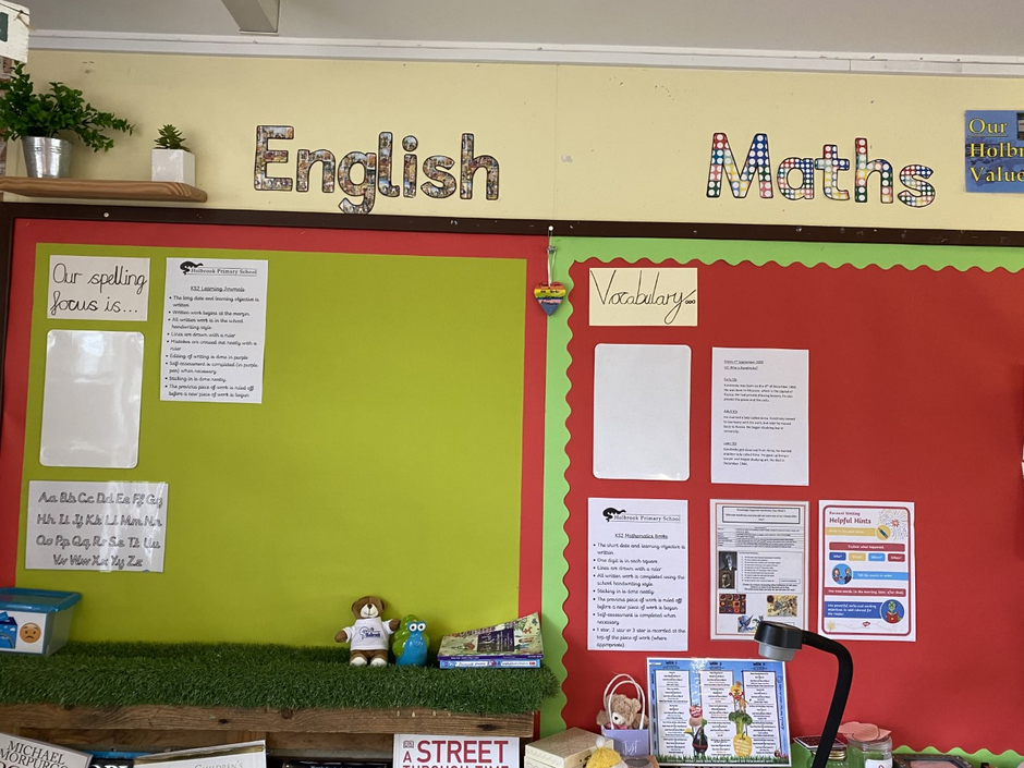 This is our Maths and English working walls.
