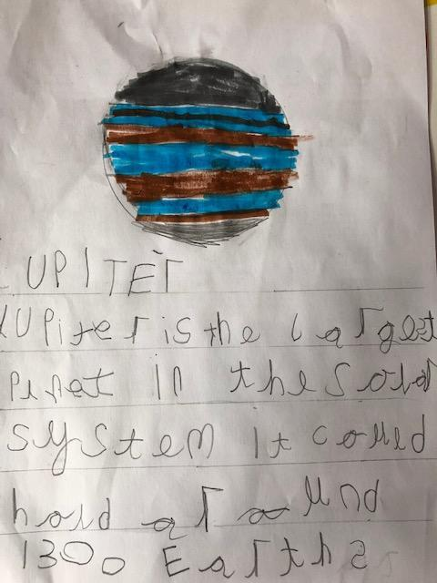 Max has beautifully written facts about Jupiter!