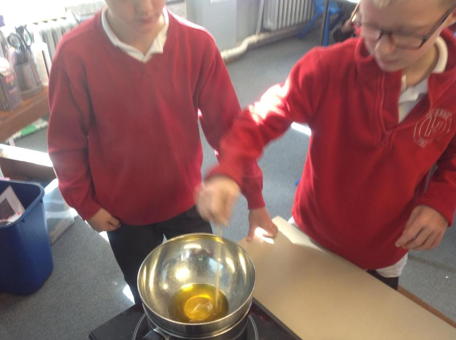 Melting wax for our Roman tablets