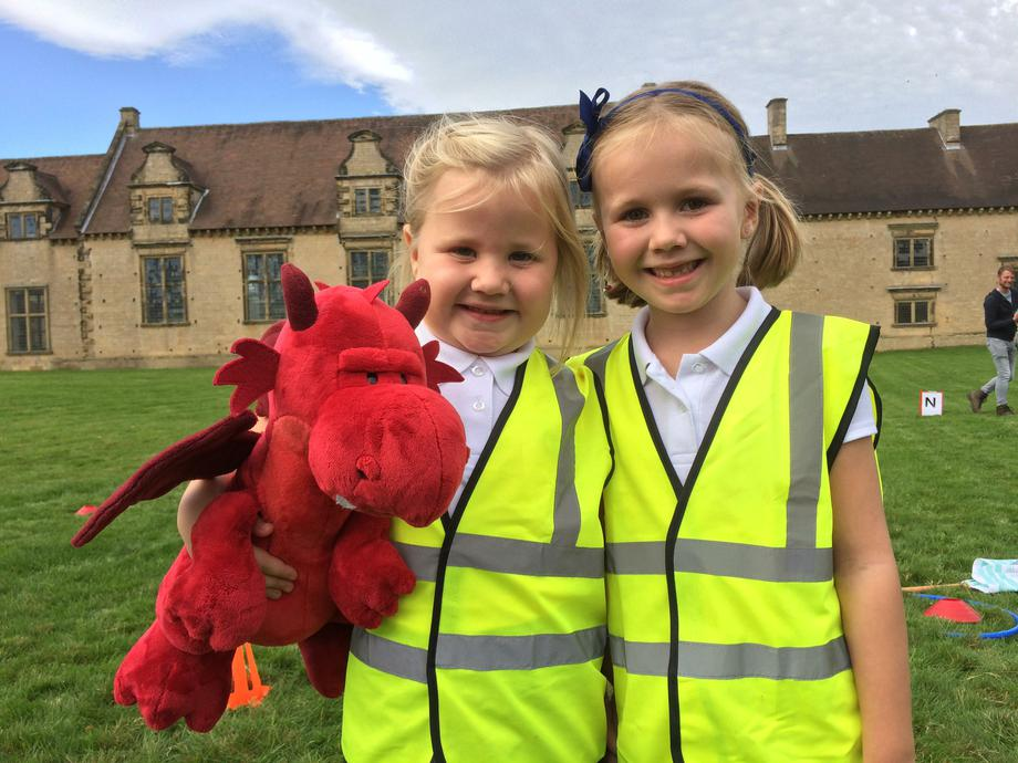 Cardiff Class mascot Dafydd the Dragon joins in