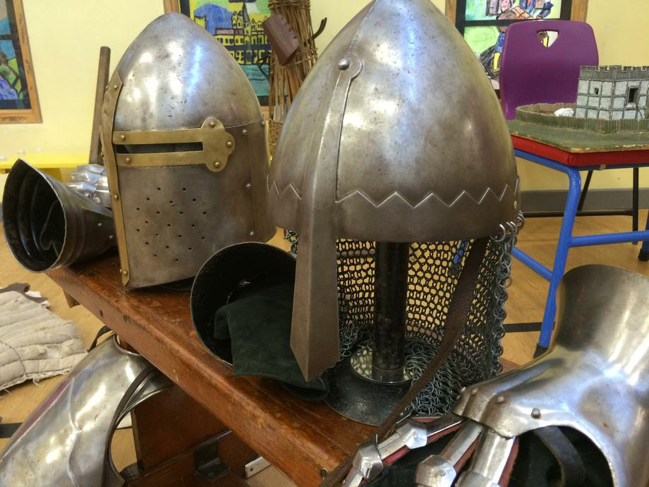 Helmets were specially shaped to protect from axes