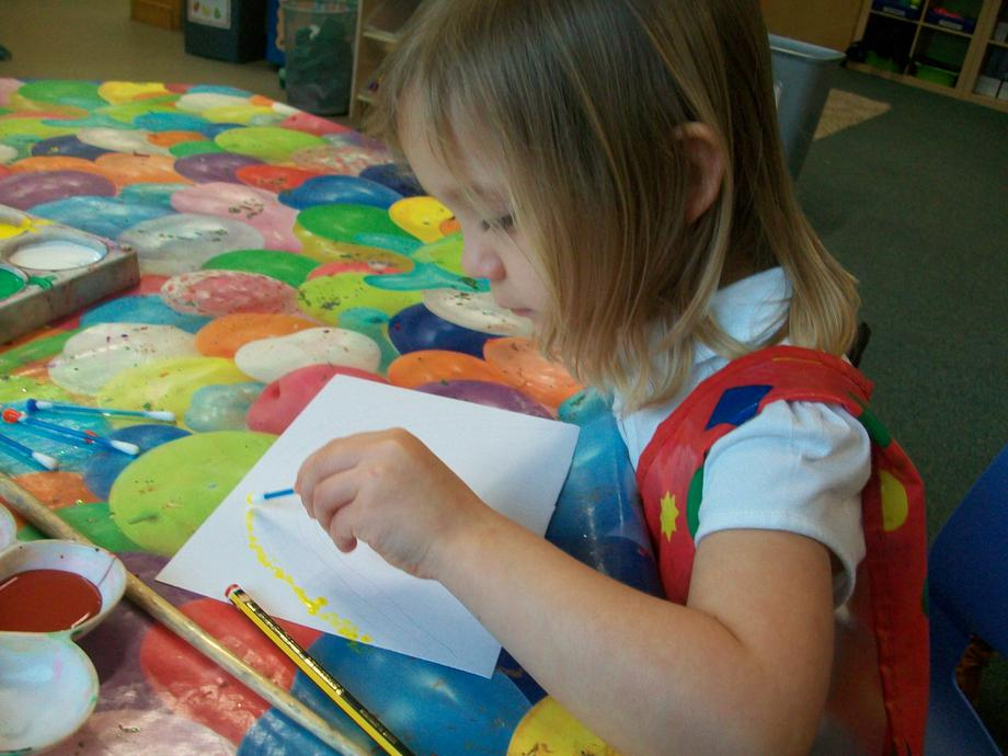 We used cotton buds to make dots of paint.
