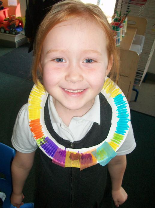 Then we made our own necklaces.