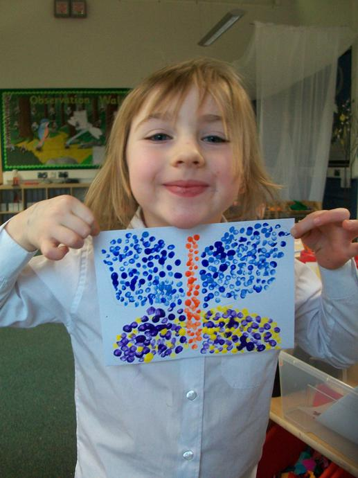 A colourful 'pointillism' butterfly.