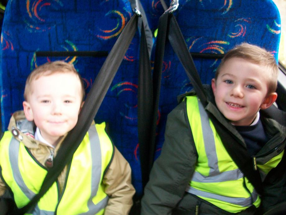 On the bus on our way to Tesco.