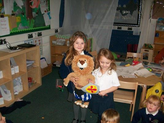We got the teddy mascot!