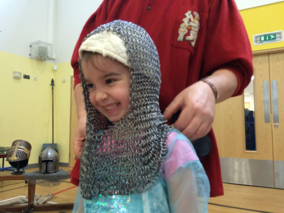 Trying on real chainmail!