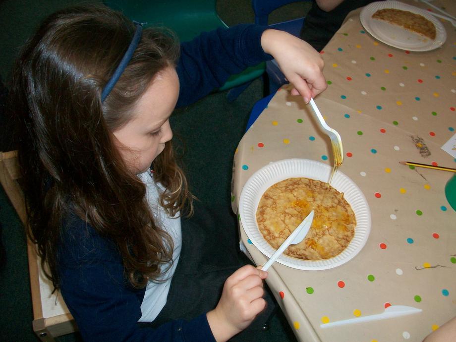 We enjoyed eating pancakes today!