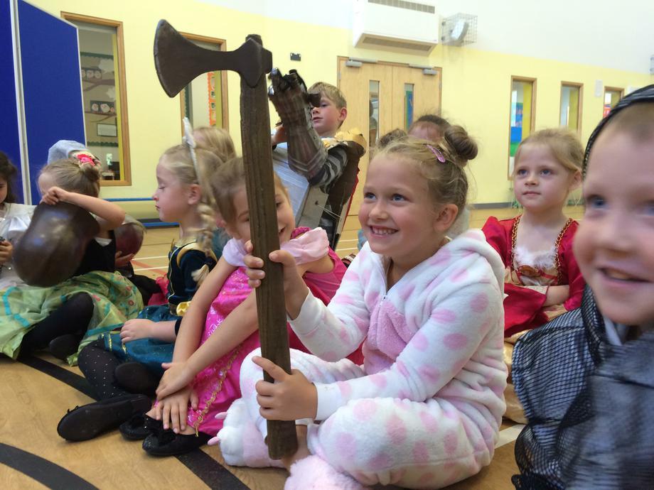 Holding an axe!