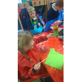 Here the children are decorating their rockets.
