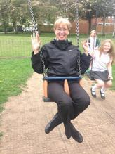 "Mrs Gray "" I will fit in the swing!"""