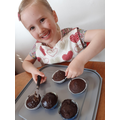 Ruby has been baking! Chocolate moustache!!