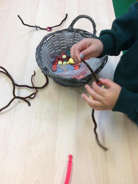 Threading autumn beads