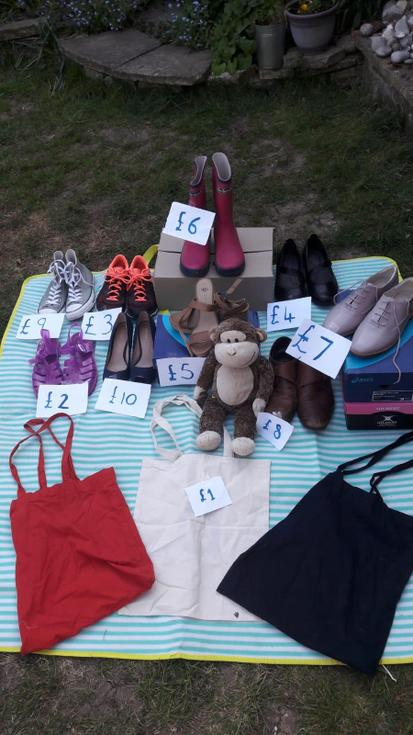 Here is Micky Monkey's shoe shop. How many shoes can you see? How much are the wellies?