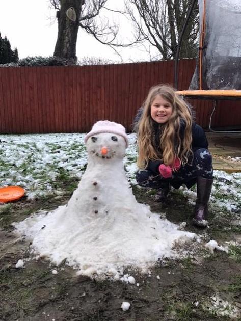 Sophie had fun snowman making