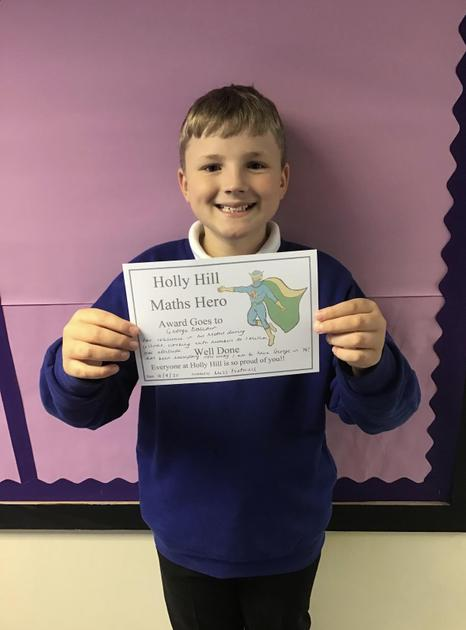 George is our Maths Hero this week for showing resilience in his first Maths lesson as Y6!