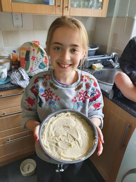 Evie is a cake pro!