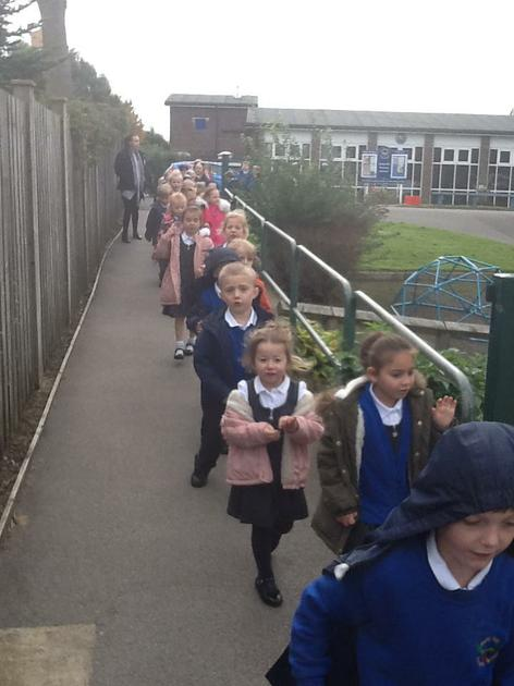 Marching and counting to 100 in the playground
