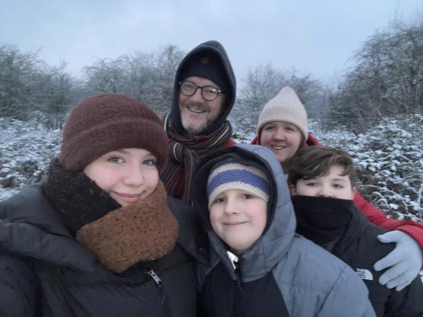 Mrs Balchin and her family enjoying the snow