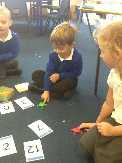 Flipping frogs onto number cards