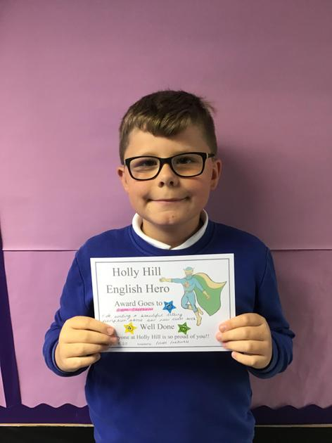 Sam is a hero this week for his wonderful use of vocabulary in his writing this week!