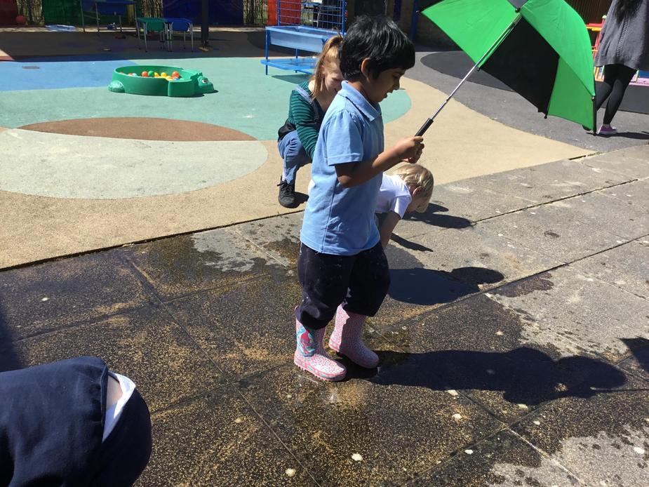 We splashed in puddles
