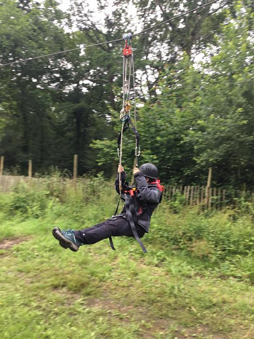 Pupil on the zip wire