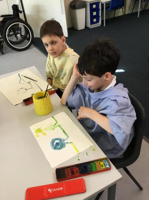 Pupil painting with watercolours