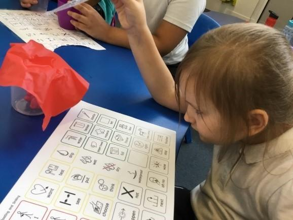 Pupil using ALD board for communication