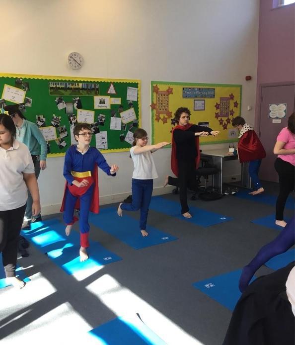 superheros flying pose