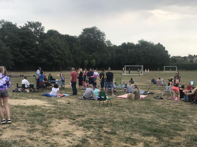End of term BBQ - a hot summer, look at the grass!