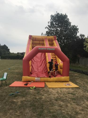 Bouncy castle and slide fun
