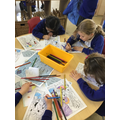 Colouring our own versions of the painting
