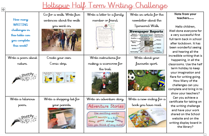 Whole School Writing Challenge