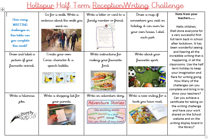 Reception Writing Challenge