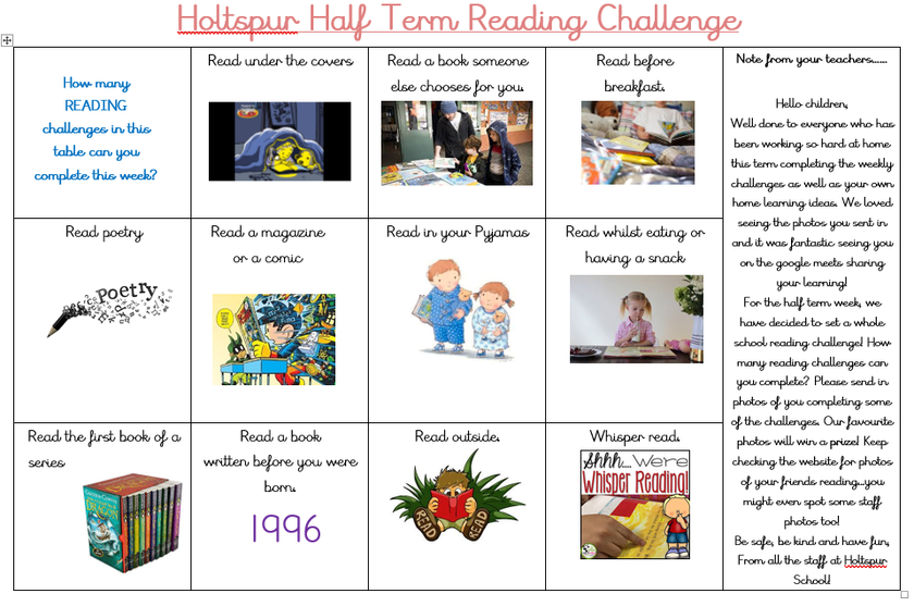February Half Term Challenge
